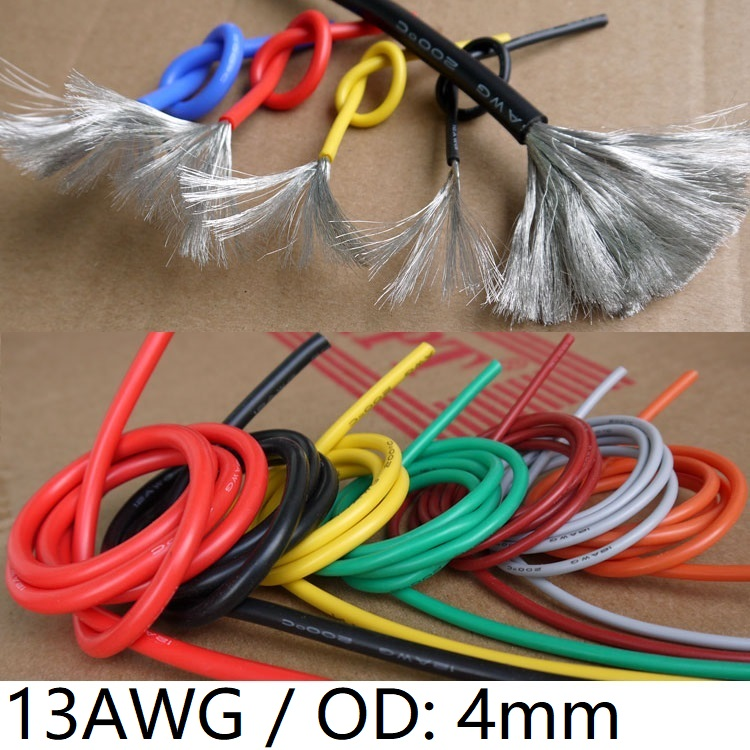 <font><b>13AWG</b></font> <font><b>Silicone</b></font> Gel Rubber Wire OD 4mm Flexible <font><b>Cable</b></font> High Temperature Insulated Copper Ultra Soft Electron DIY Line Colorful image