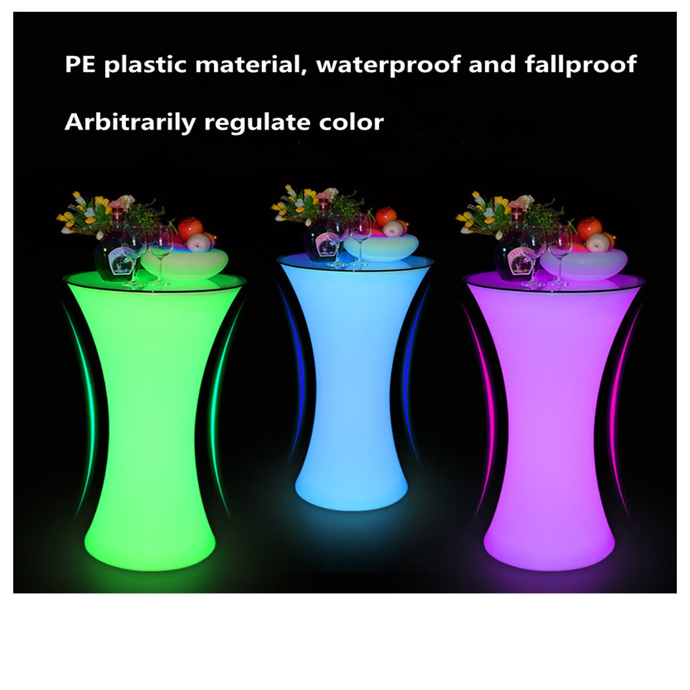 New Led Luminous Cocktail Table Lighted Up Bar Table Creative Lighting Furniture Round High Bar Table Club KTV Disco Supplies