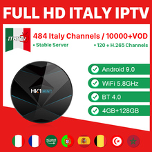 ITHDTV IPTV France Italy IP TV Portugal HK1 MINI+ Android 9.0 4G+128G BT Dual-Band WIFI Turkey 1 Year Box