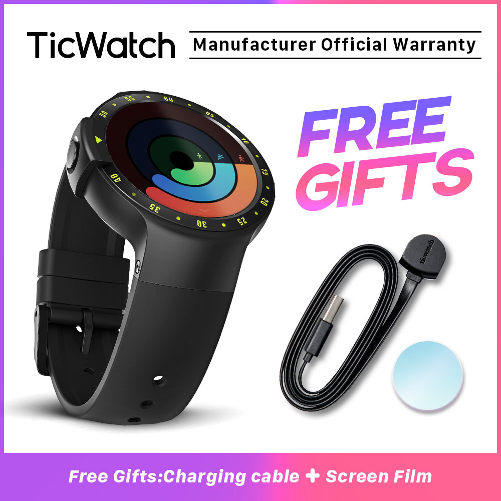 TicWatch S Black Smart Watch Bluetooth Smartwatch with GPS Android&iOS Compatible Google Wear OS IP67 Waterproof Mobvoi Original