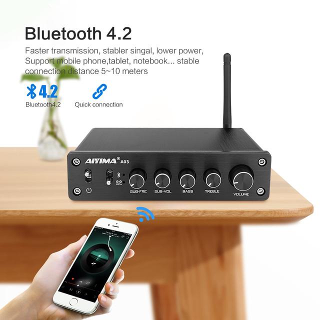 AIYIMA TPA3116 2.1 Channel 50W x 2+100W High Power Bluetooth Digital Amplifier Subwoofer HIFI Amplificador Audio Amplifiers