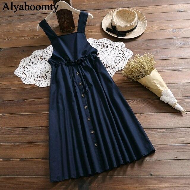 Japanese Mori Girl Spring Summer Women Sundress Navy Blue Suspenders Elegant Dress Cotton Linen Vintage Sleeveless Midi Dresses 1