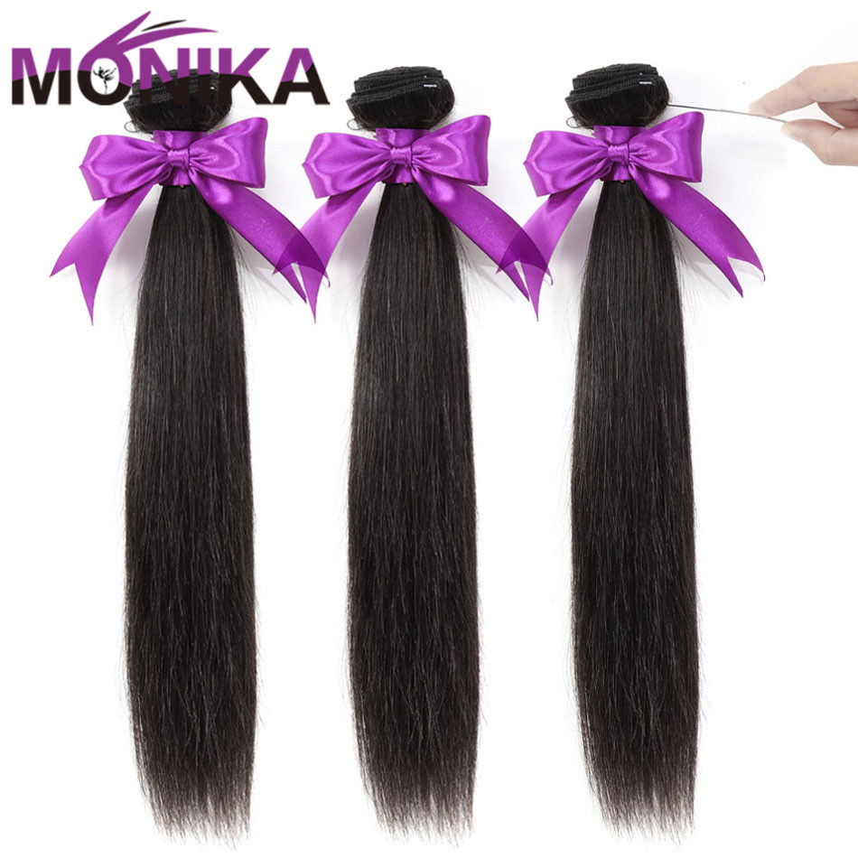 Monika 30 Inch Bundles Straight Hair Bundles Human Hair 3 Bundles Brazilian Hair Weave Bundles Non Remy Mecienne Hair Extensions