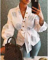 Automne 2019 à manches longues mode femmes col en V hauts et chemisiers blusas mujer de moda Bandage haut pour femme Streetwear tenues vêtements