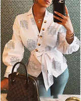 Herbst 2019 Langarm Mode Frauen V Neck Tops Und Blusen blusas mujer de moda Verband Frauen Tops Streetwear Outfits kleidung