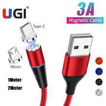 цена на UGI 3A 1M 2M Magnetic Cable Fast Charge Micro USB Type C USB C Charger Data Sync For Samsung S10 S9 Huawei P20 P30 P40 XiaoMi 10