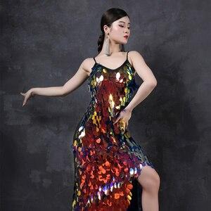 Image 5 - Latin Dance Dress Costumes Latin Dancing Shinning Women Latindance Night Club Set Competition Latino Long Dresses Big Sequins