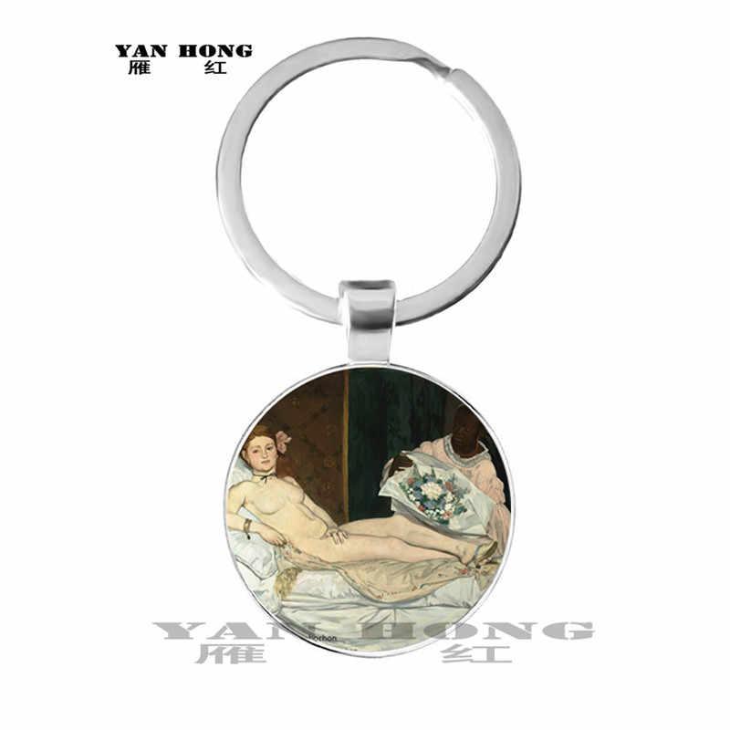Một trong những tác phẩm nổi tiếng nhất của nghệ thuật, mona Lisa/Keith/Bé Gái của Kính Mặt Dây Chuyền Trang Sức khám phá, Móc chìa khóa