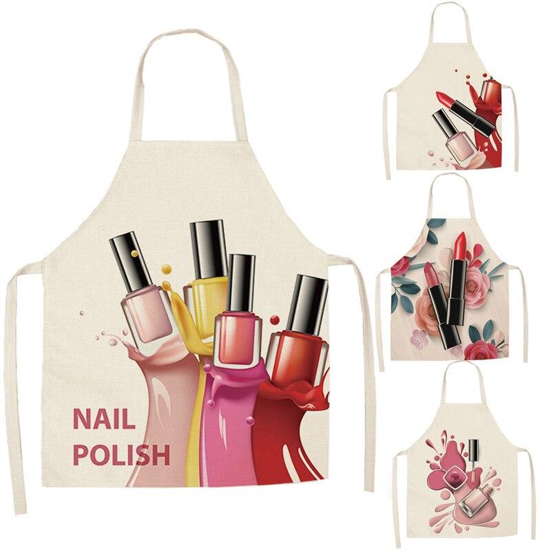 Lino flor esmalte de uñas tema impresión delantales de cocina Unisex cena fiesta cocina babero divertido delantal de limpieza Pinafore