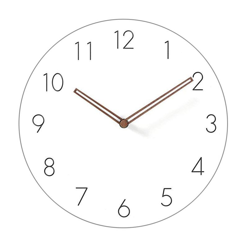 Botique-Simple Modern White Round Wooden Wall Clock 11 Inch Non-ticking One AA Battery Powered (Arabic Numbers)