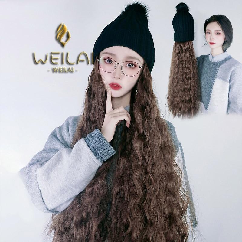Coreana do Outono e Inverno Vermelho com Bola de Pele Estudante de Inverno Weilai Versão Coringa Chapéu lã Ins Malha Peruca Uma Mulher Net