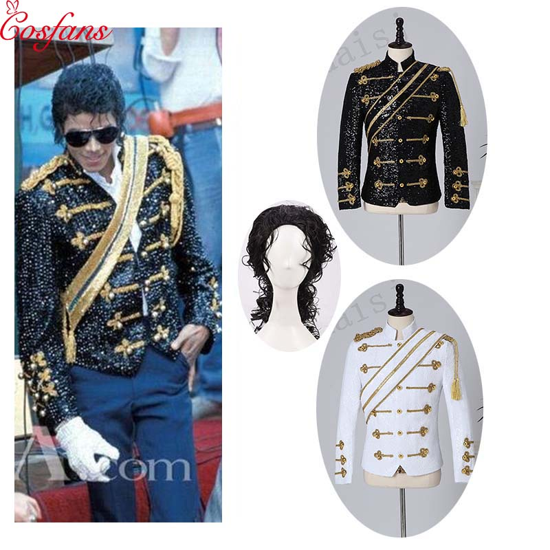 New Men's Clothing Fashion Slim MJ Michael Jackson Coat Dance Sequins Suit Jacket Stage Singer Costumes Coaplay Costume And Wig