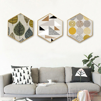 Tree Leaf Hexagon Canvas Painting Posters and Prints Oil Painting Wall Art Canvas Framed Home Decoration Hallway Bedroom Picture