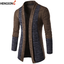 2020 NEW Autumn Men Knitted Sweater Coat Long Patchwork Fashion Knitting Jacket Slim Casual Men Outwear Open Stitch Jacket Male