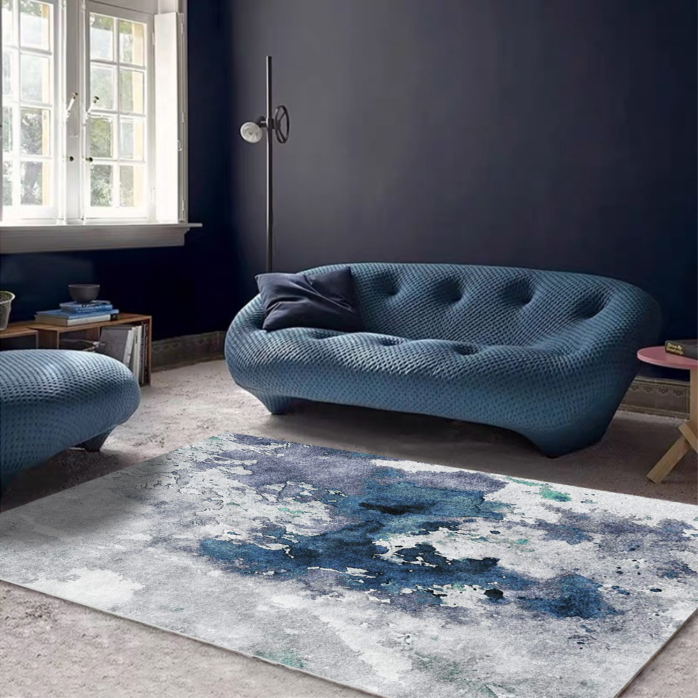 Modern Abstract Rug Watercolor Blue Cement Gray Carpet For Bedroom Decor Rug And Carpet For Home Living Room Luxury Designer Rug