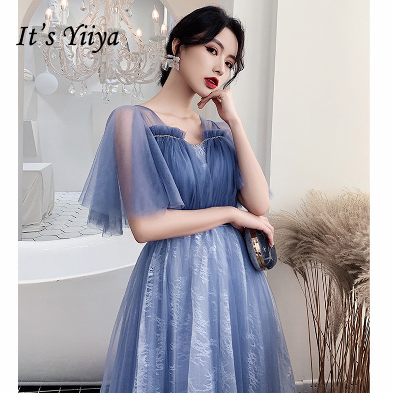 It's Yiiya Evening Dresses V-Neck Ruched A-Line Evening Dress 2020 Plus Size Elegant Blue Formal Gowns Long Robe De Soiree LF213