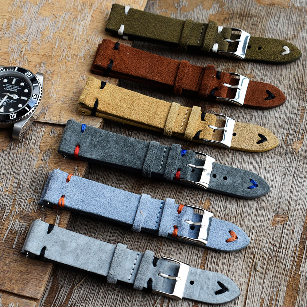 High Quality Suede Leather Vintage Watch Straps Blue Watchbands Replacement Strap  For Watch Accessories 18mm 20mm 22mm 24mm