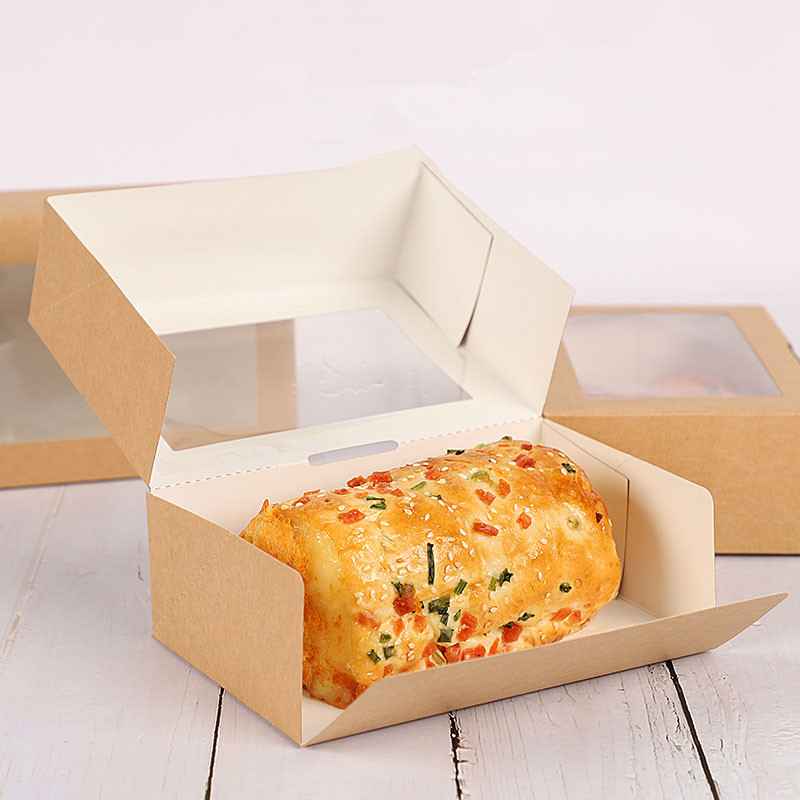 50pcs Kraft papier boîte à déjeuner jetable salade de fruits dessert boîte de nourriture de haute qualité frite poulet à emporter boîte d'emballage avec fenêtre