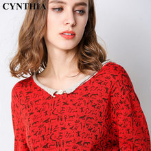 CYNTHIA 2020 Spring New Style Loose One Size Printed V-neck Long Sleeve Women's Pullover Base Short Pure Cotton Sweaters(China)
