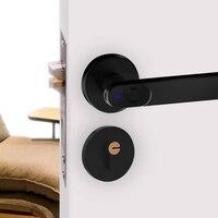 Fechadura da porta de madeira biométrico impressão digital fechadura da porta elétrica lidar com bateria chave machical