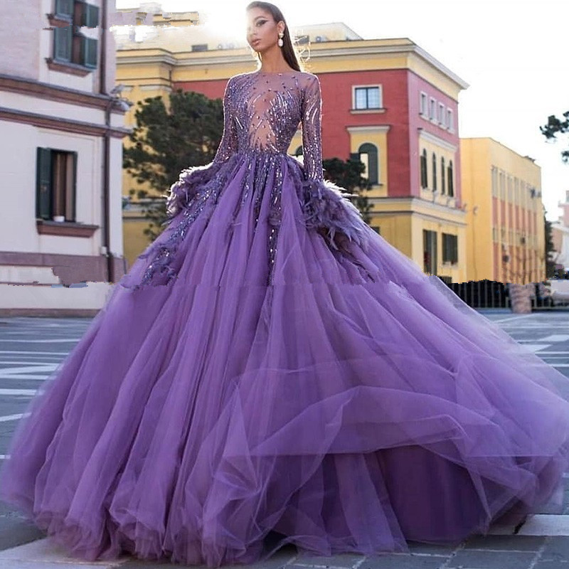 Arabic Purple Ball Gown Feather Evening Dresses Long Sleeves Women Prom Dress Tulle Puffy Sweet 16 Birthday Party Gowns