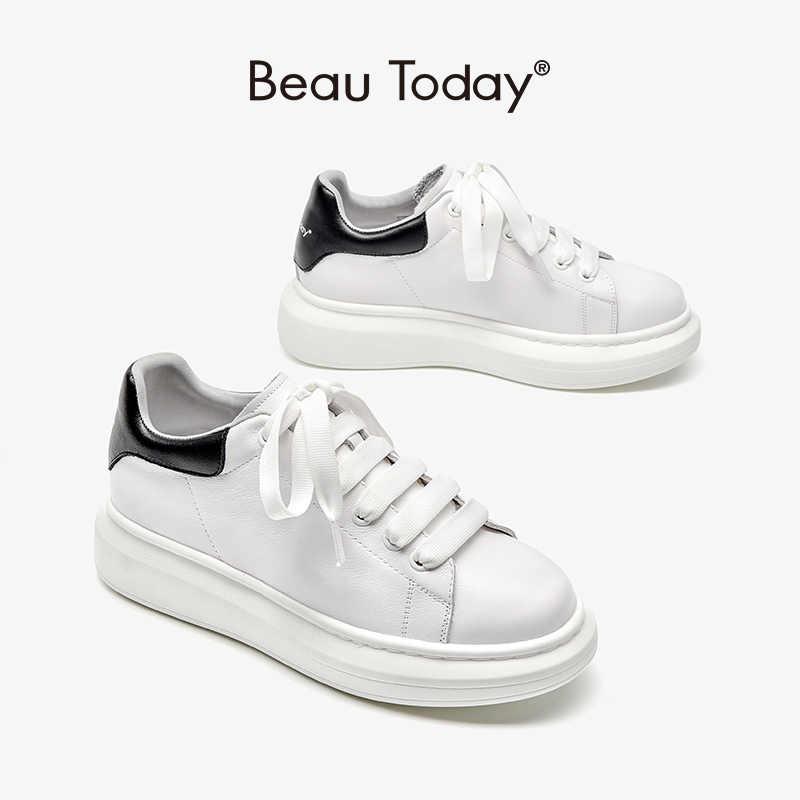 BeauToday White Sneakers Women Genuine
