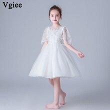 Vgiee Kids Dress for Girls Cotton Summer Clothes Mesh Knee-Length Princess CC673