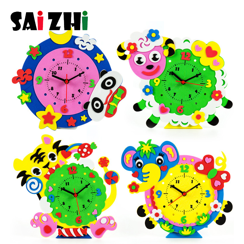 Saizhi Cute 3D EVA Handmade Animal Learning Clock Puzzle Assembled Kits DIY Creative Educational Toys For Children Baby Gift Toy