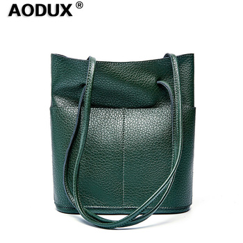 AODUX 100% Genuine Cow Leather Women Shopping Bucket Shoulder Bag Long Handle Handbag Lady Female Top Layer Cowhide Satchel Hobo