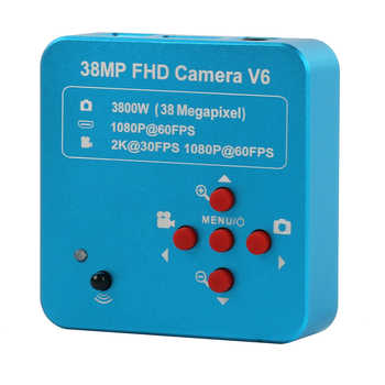 38MP 2K 1080P 60FPS HDMI USB Industry Video Microscope Camera 100X Monocular Lens 144 LED Light Lift Stand For PCB Repair