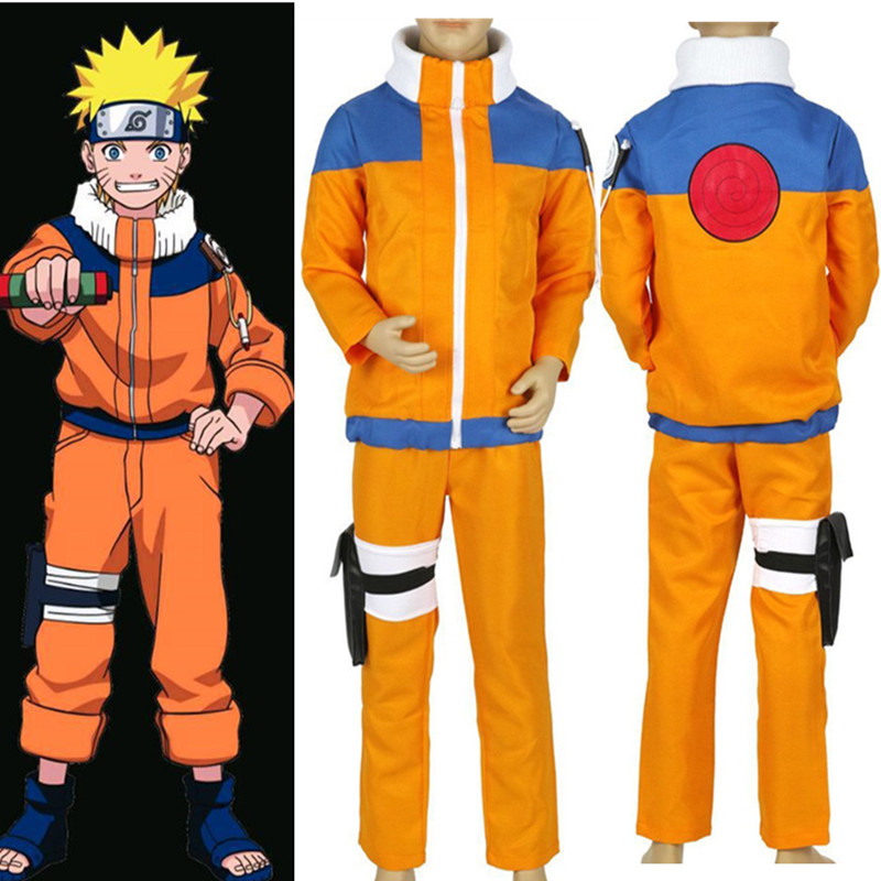 Anime Naruto Shippuden Costumes Uzumaki Naruto Uniform NARUTO Child Kids Boy Stage Party Clothing Cosplay Halloween Costumes