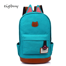 Teenage Girls Canvas Backpack Cartoon Cat Ears Back Pack Casual Candy Color Women School Bag For Female Cute Backpacks Bags недорого