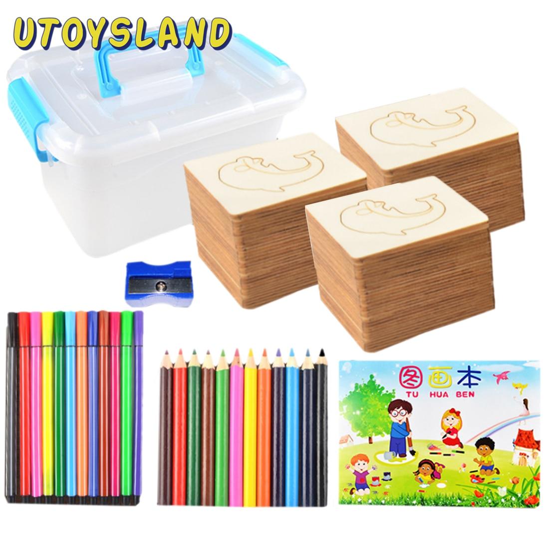 60Pcs DIY Handmade Wooden Painting Board Template Drawing Stencils Graffiti Toy Set For Child Kids (60Pcs Board + 60Pcs Cutouts)