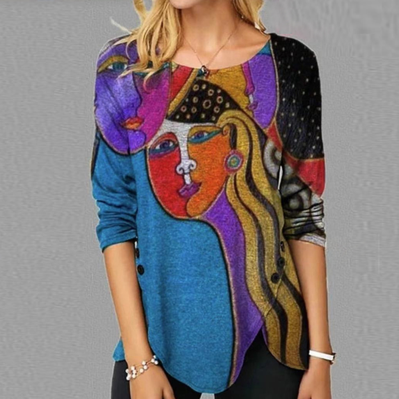 Women Vintage Color Block Button Irregular Shirt 2021 Spring Pullover Tops Lady Autumn Casual Long Sleeve Blusa