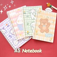 Cartoon Notebook Supplies Sheets Composition Kawaii Organizer 60 Weekly School Note Daily Bunny A5 Spiral Children