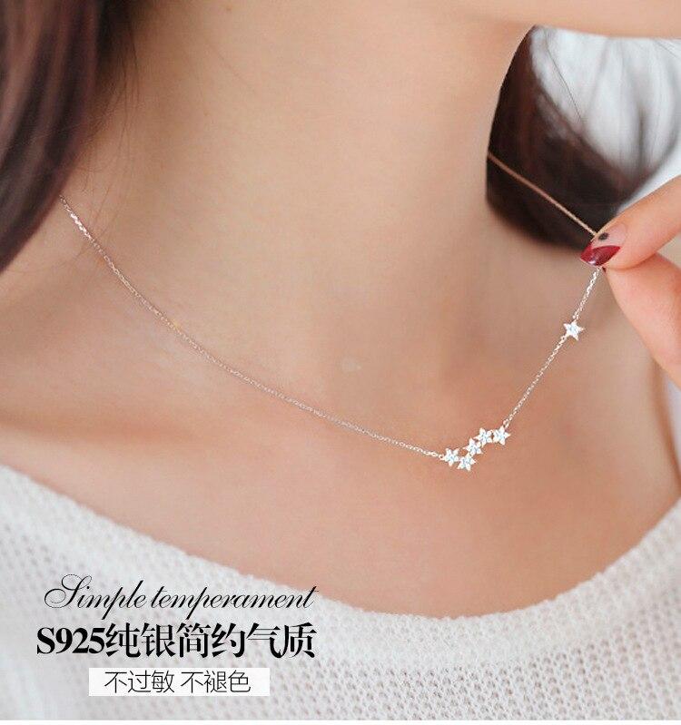S925 Sterling Zilveren Fijne Sieraden Hot Selling Accessoires Met Mode Sleutelbeen Keten Ster Wilde Ketting Voor Vrouwelijke Groothandel