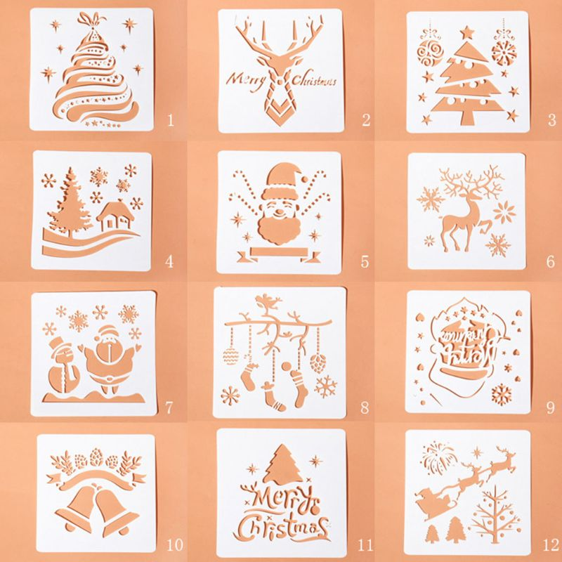 12pcs/set Merry Christmas Drawing Template Ruler Stencil Painting Board Album