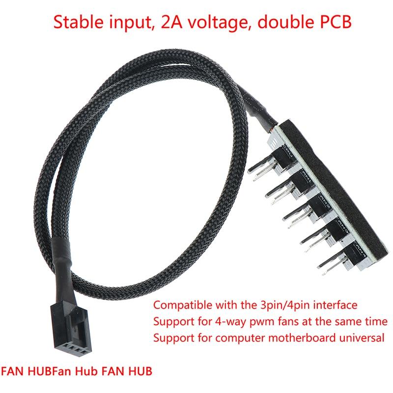 1 Female To 5 Male 4Pin Socket Fan Hub Splitter Cable PC Cooler Fan Power Cable For 3Pin&4Pin PWM Cooling Fan
