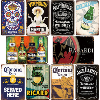 Corona Bacardi Vintage Beer Metal Plaque Sign Bar Home Wall Decor Signs Retro Metal Poster Tin Sign Man Cave Pub Kitchen Plates whiskey vintage metal sign tin sign plaque metal vintage retro wall decor for bar pub club man cave metal signs poster