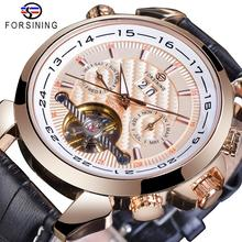 Forsining Classic Tourbillon Mens Mechanical Watch Rose Gold Calendar Genuine Leather Business Suit Automatic Clock For Man Gift все цены
