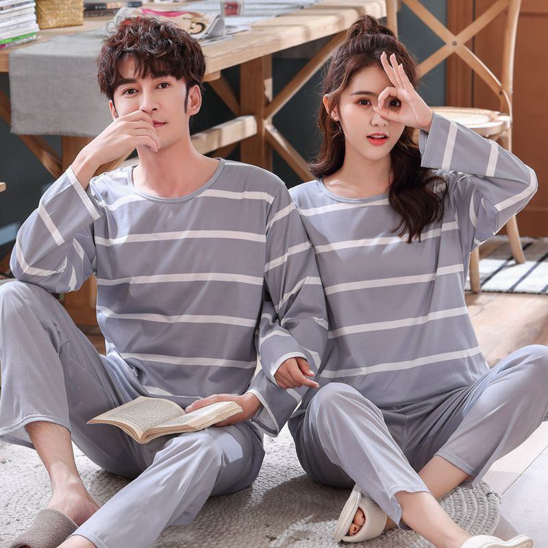 Striated Women/men Pajamas Sets Lovers Lounge Sleepwear Long-sleeve Tops +pants Gray Homewear Pijamas Pyjamas Women Pj Set Pijam