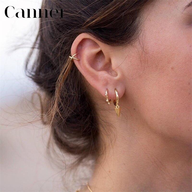 Cute INS ear bone buckle Earrings 100% 925 Sterling Silver Geometric Circle small beads Hoop Earrings for Women warehouse