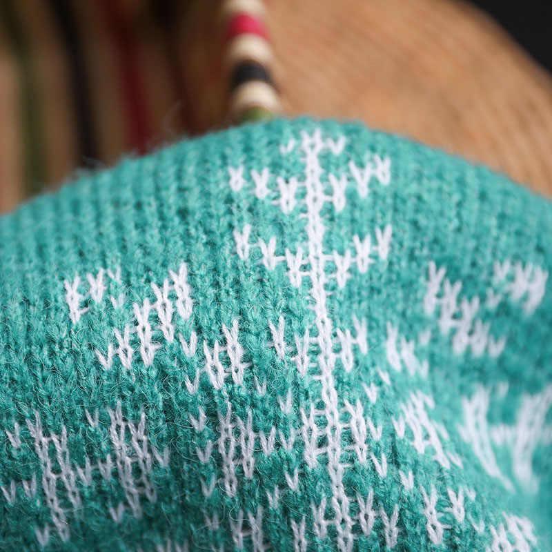 Горячая Распродажа 2019 женский кардиган с длинными рукавами с рисунком оленя снежинки вышивка теплый свитер с карманом IE998