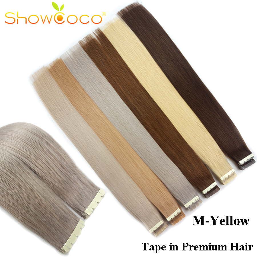 Showcoco Virgin Tape In Human Hair Extension Mini Style Mini Yellow Tape Highlighted 2-3 Years One Donor Cuticle Hair Tape Ins