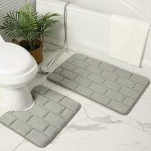 Coral Fleece Bath Mat Non-Slip Grey Toilet Mats Set Water Absorbent Bathroom Rugs Brick 3D Door Entrance Floor Carpet 50x80cm