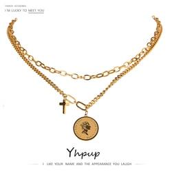 Yhpup 2021 acier inoxydable métal bijoux élégant Portrait croix pendentif couches collier haute qualité 18 K chaîne or collier
