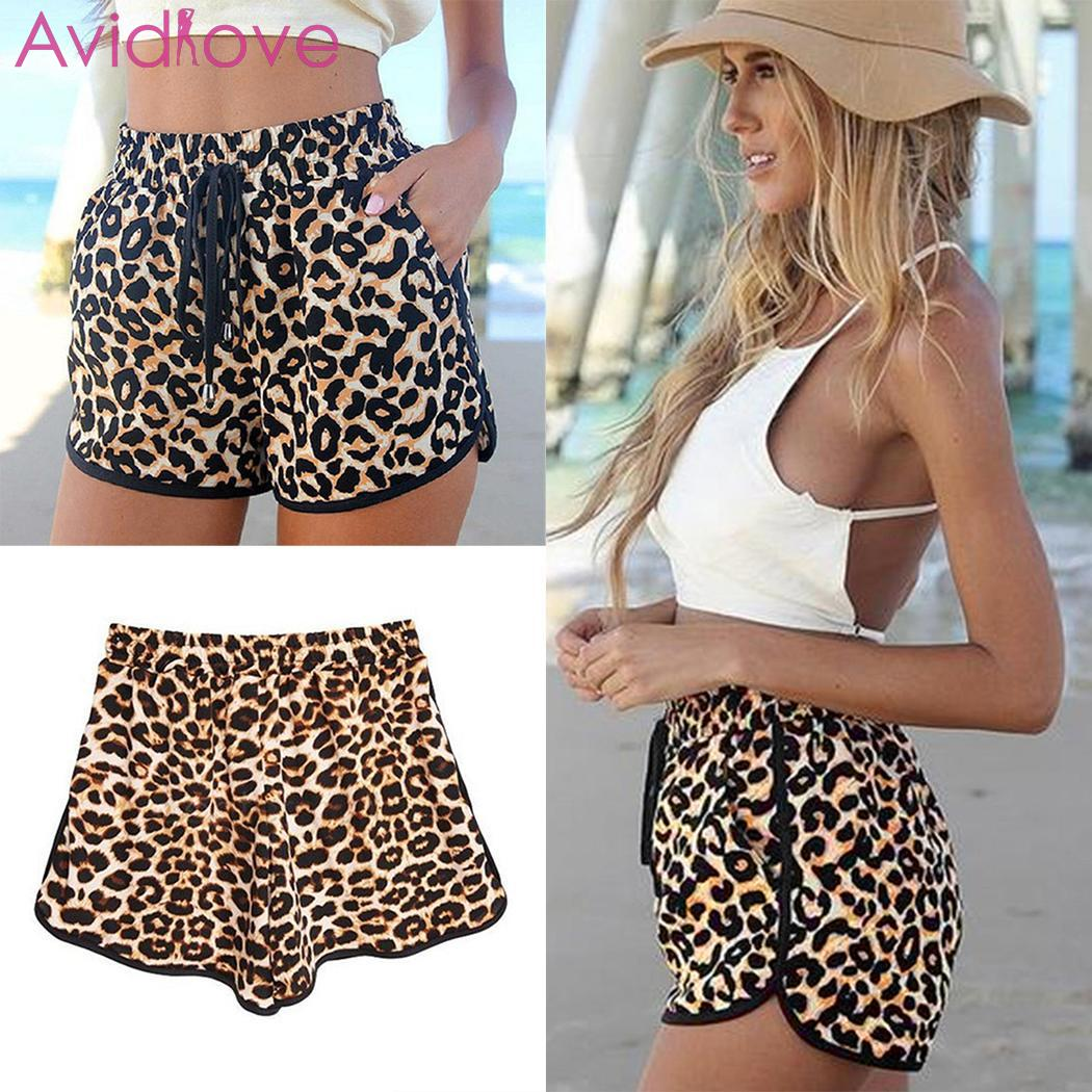Women Casual Loose Leopard Drawstring Waist Shorts Beach Above Knee Mid V-Neck Shorts Casual, Summer