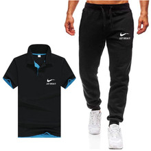 Summer Polo Shirt Mens Short Sleeve + Pants Suit Male Solid Jersey Breathable 2PC Top Set Fitness Sportsuits Men