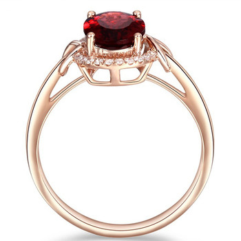 18k rose gold red crystal rings for women femme ruby gemstone engagement zircon diamond fashion party jewelry Christmas gift 1