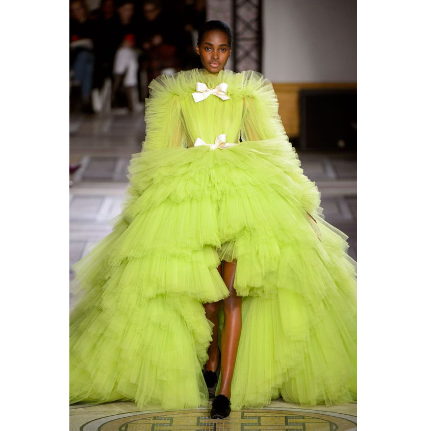 Robe de soiree Puffy Tulle Ball Gown Prom Party Dresses Hi Low Tiered Long Sleeve Evening Formal Dress Special Occasion Gowns